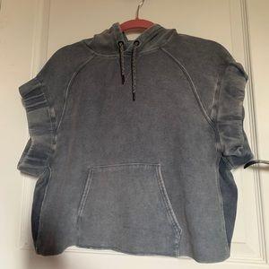 Acid wash cropped hoodie